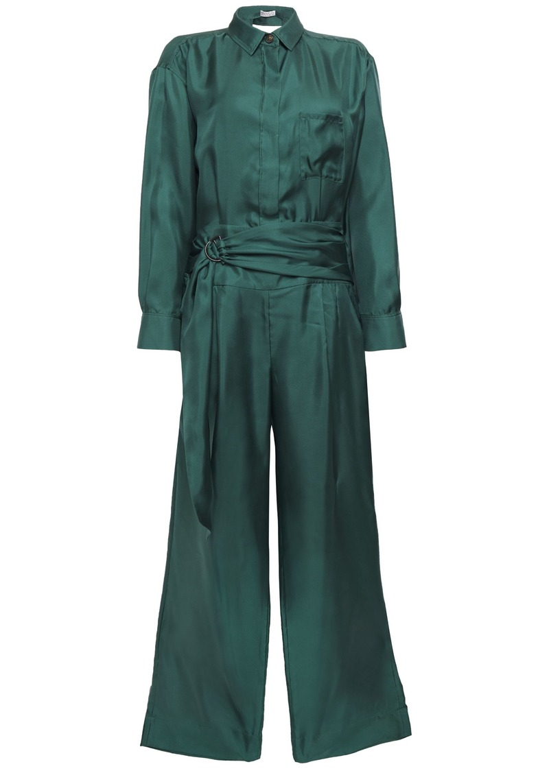 Brunello Cucinelli Woman Belted Silk-twill Jumpsuit Emerald