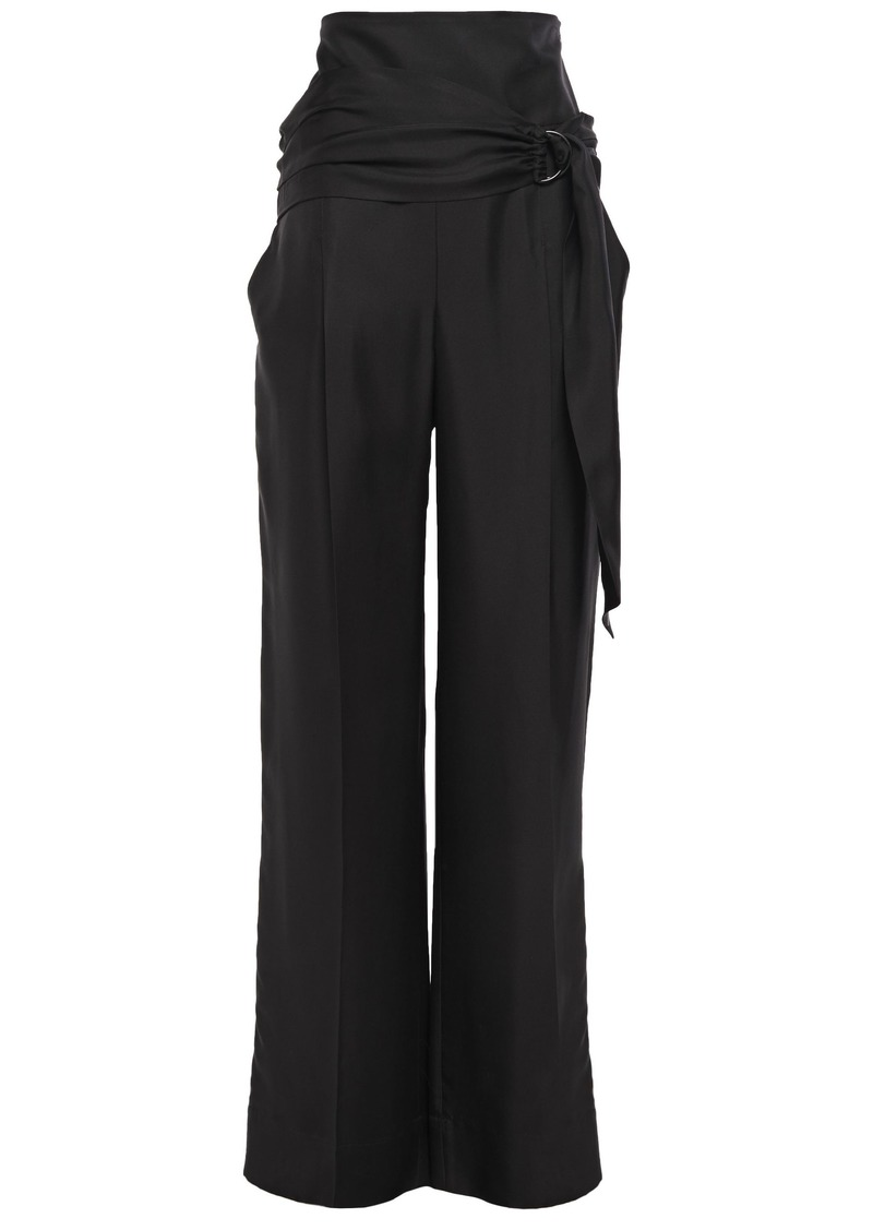 Brunello Cucinelli Woman Belted Silk-twill Wide-leg Pants Black