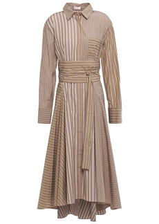 Brunello Cucinelli Woman Bead-embellished Striped Cotton-jacquard Midi Shirt Dress Mushroom