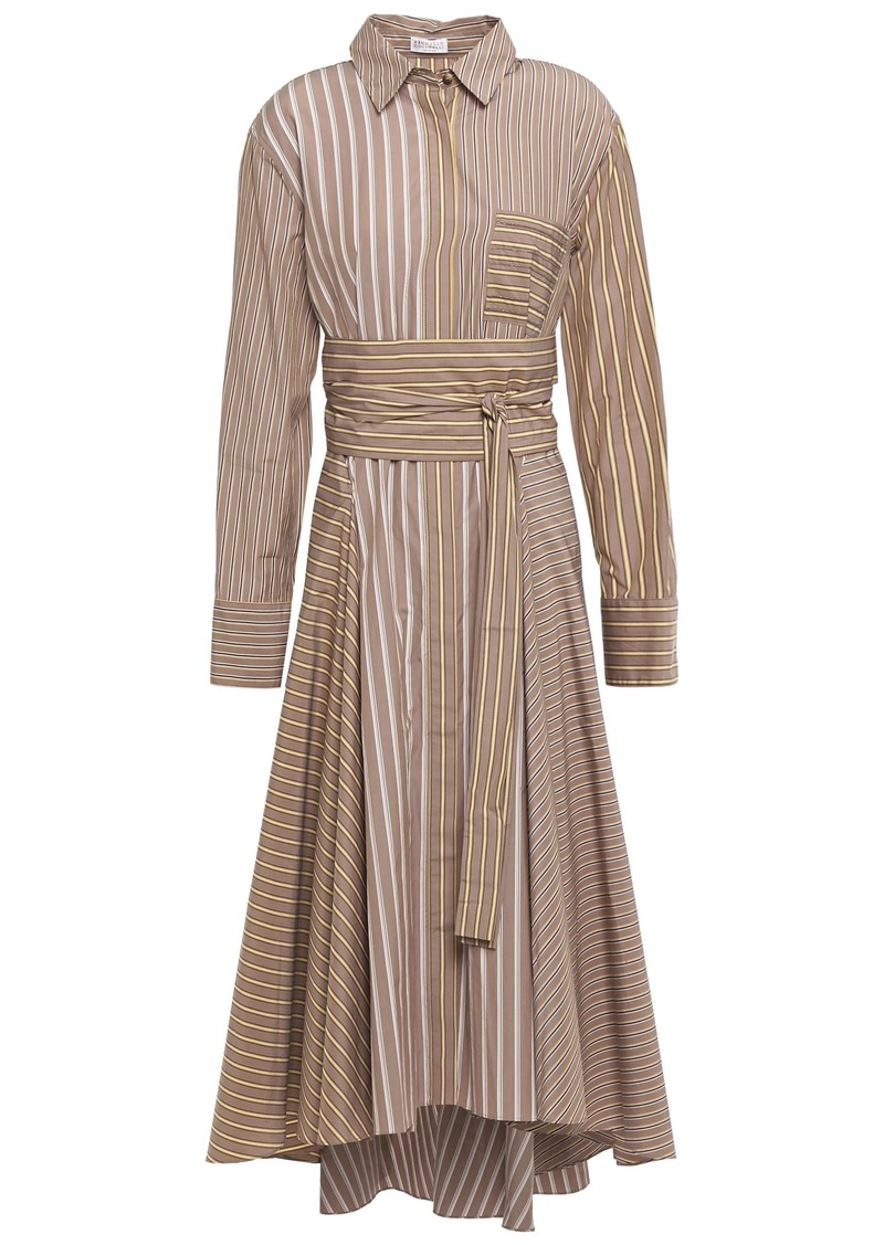 Brunello Cucinelli Woman Belted Striped Cotton-poplin Midi Shirt Dress Mushroom