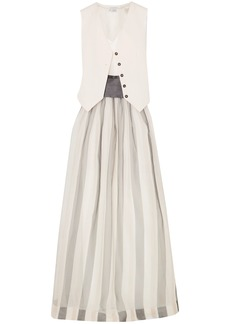 Brunello Cucinelli Woman Belted Striped Herringbone Cotton And Linen-blend Silk-blend Satin And Organza Maxi Dress White