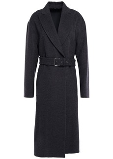 Brunello Cucinelli Woman Belted Wool And Cashmere-blend Felt Coat Anthracite