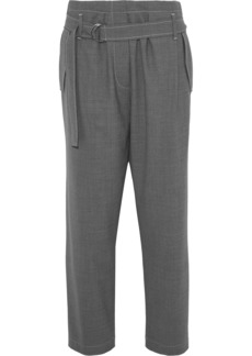 Brunello Cucinelli Woman Belted Wool-blend Tapered Pants Anthracite
