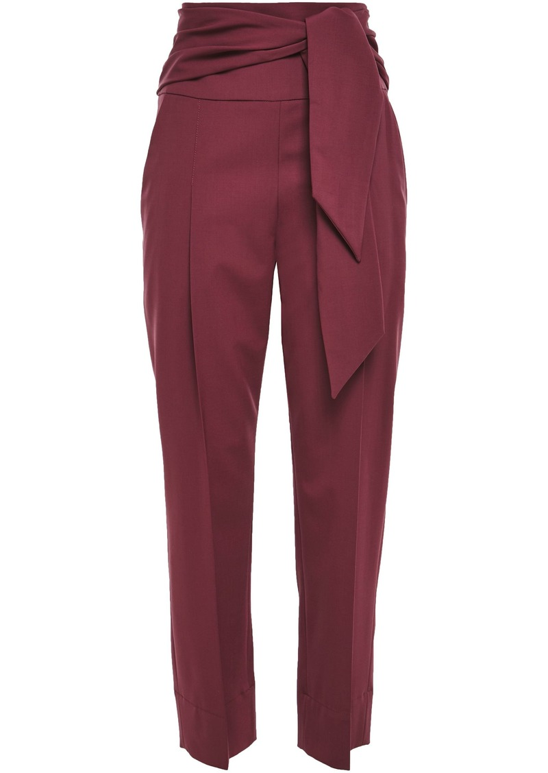 Brunello Cucinelli Woman Belted Wool-blend Tapered Pants Plum