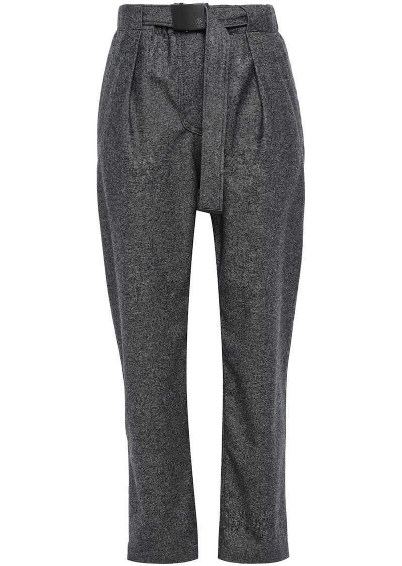 Brunello Cucinelli Woman Belted Wool Straight-leg Pants Dark Gray