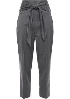 Brunello Cucinelli Woman Belted Wool Straight-leg Pants Dark Gray