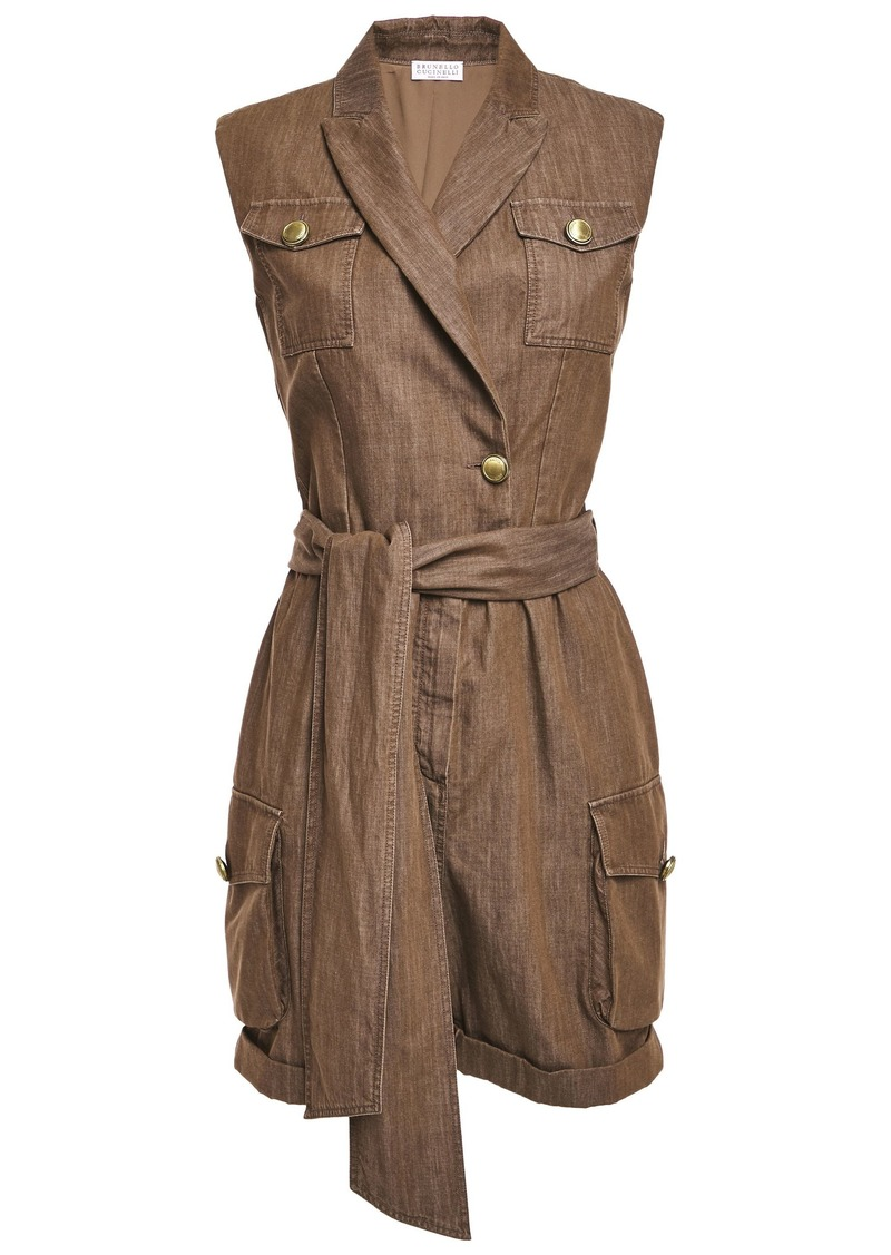Brunello Cucinelli Woman Belted Wrap-effect Bead-embellished Denim Playsuit Brown