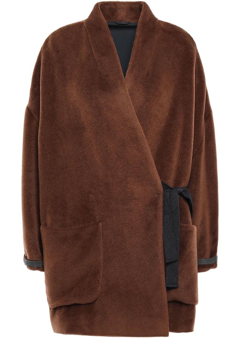 Brunello Cucinelli Woman Brushed Alpaca Wrap Coat Brown