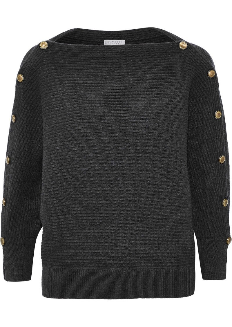 Brunello Cucinelli Woman Button-detailed Ribbed Cashmere Sweater Black