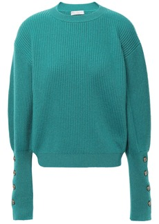 Brunello Cucinelli Woman Button-detailed Ribbed Cashmere Sweater Jade
