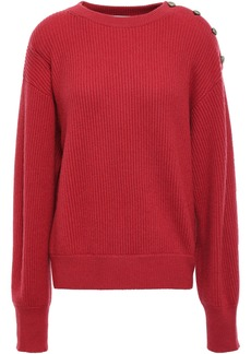 Brunello Cucinelli Woman Button-detailed Ribbed Cashmere Sweater Tomato Red