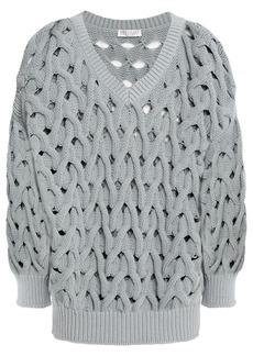 Brunello Cucinelli Woman Cable-knit Cotton-blend Sweater Slate Blue