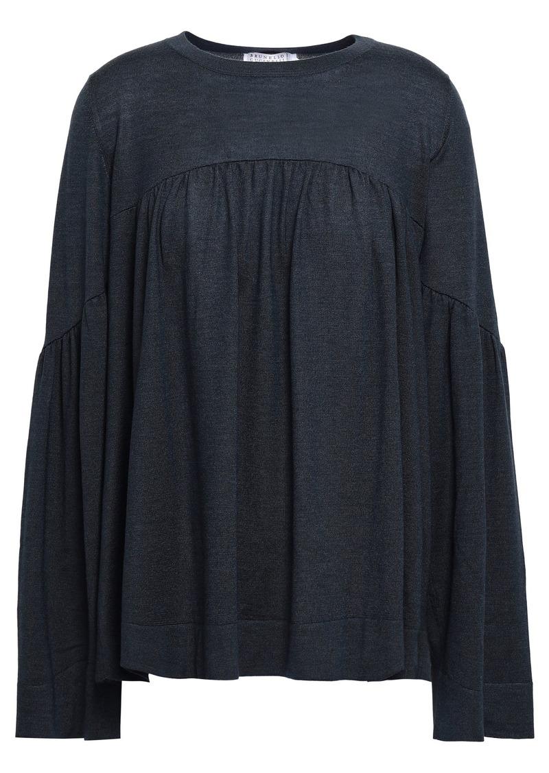 Brunello Cucinelli Woman Cashmere And Silk-blend Sweater Anthracite