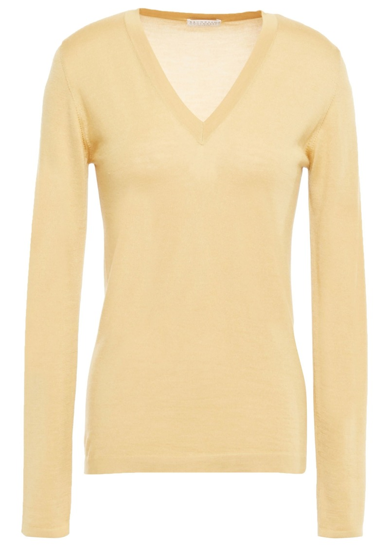 Brunello Cucinelli Woman Cashmere And Silk-blend Sweater Mustard