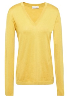 Brunello Cucinelli Woman Cashmere And Silk-blend Sweater Saffron