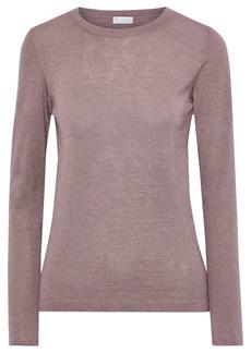 Brunello Cucinelli Woman Metallic Cashmere-blend Sweater Lavender