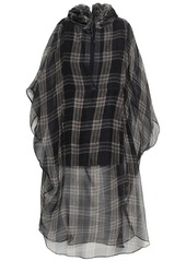 Brunello Cucinelli Woman Checked Silk-chiffon Hooded Tunic Anthracite