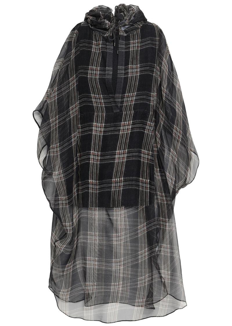 Brunello Cucinelli Woman Checked Silk-chiffon Hooded Tunic Anthracite