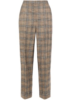 Brunello Cucinelli Woman Checked Woven Wide-leg Pants Brown