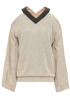 Brunello Cucinelli Woman Cold-shoulder Embellished Linen And Silk-blend Sweater Ecru