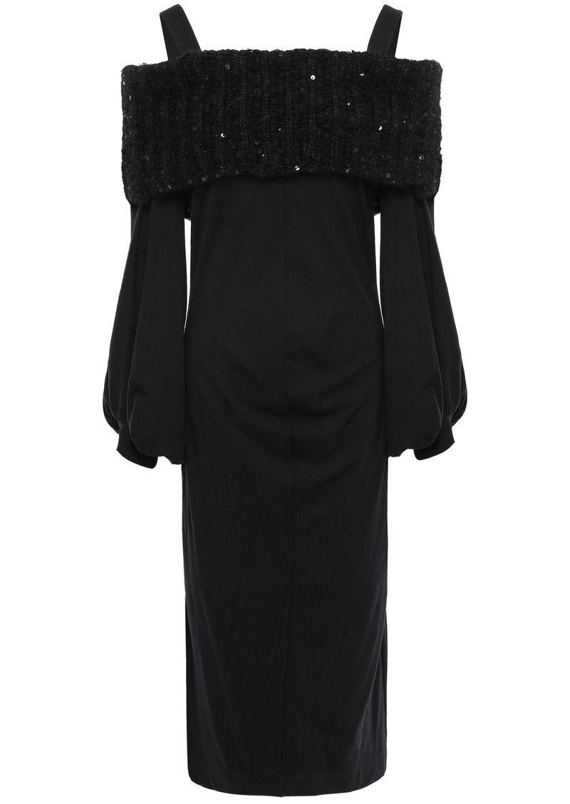Brunello Cucinelli Woman Cold-shoulder Sequin-embellished Wool-blend Dress Black