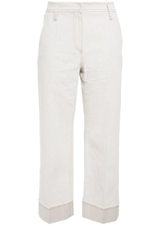 Brunello Cucinelli Woman Cotton And Linen-blend Twill Straight-leg Pants Off-white