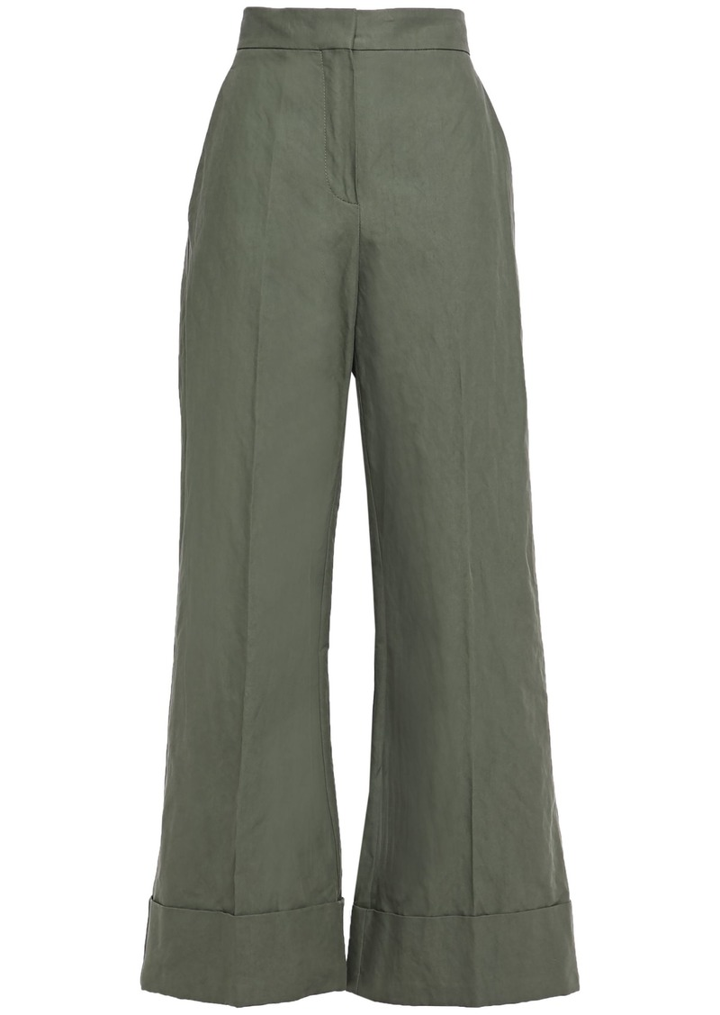 Brunello Cucinelli Woman Cotton-blend Canvas Wide-leg Pants Army Green