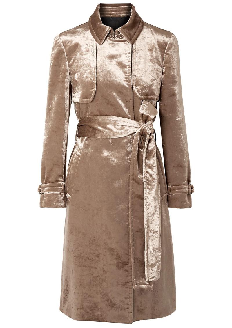 Brunello Cucinelli Woman Cotton-blend Velvet Trench Coat Taupe