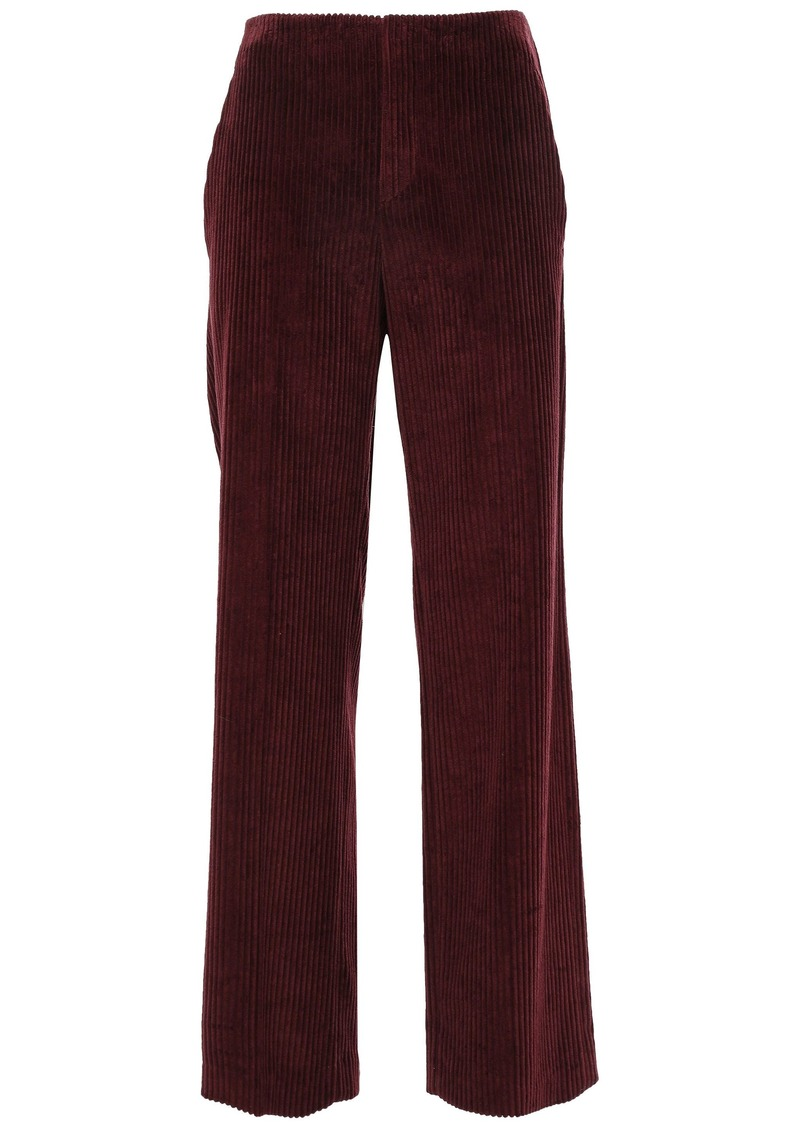 Brunello Cucinelli Woman Cotton-corduroy Wide-leg Pants Merlot