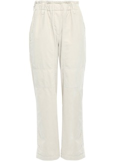 Brunello Cucinelli Woman Cotton-velvet Straight-leg Pants Light Gray