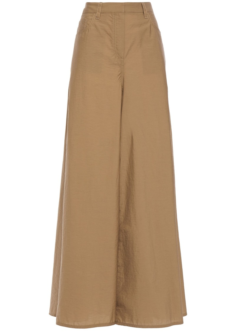 Brunello Cucinelli Woman Crinkled Cotton-blend Wide-leg Pants Sand