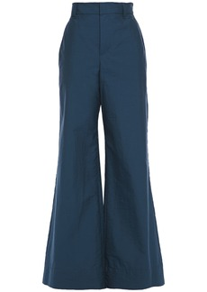 Brunello Cucinelli Woman Crinkled Cotton-blend Wide-leg Pants Storm Blue