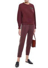 Brunello Cucinelli Woman Cropped Bead-embellished Cashmere Track Pants Grape