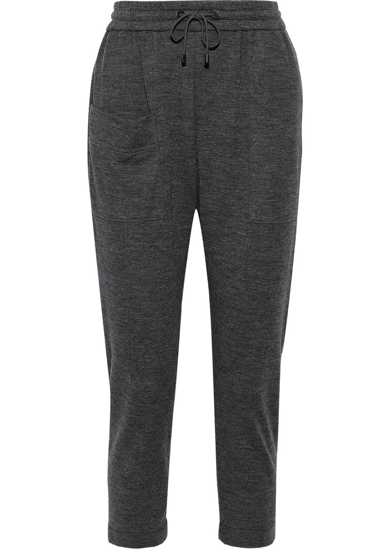 Brunello Cucinelli Woman Cropped Bead-embellished Cashmere Track Pants Gray