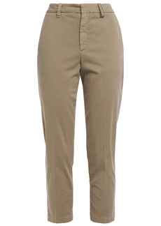 Brunello Cucinelli Woman Bead-embellished Stretch-cotton Twill Slim-leg Pants Mushroom