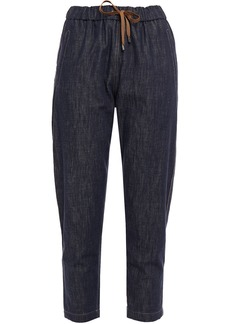 Brunello Cucinelli Woman Cropped Bead-embellished Faded High-rise Tapered Jeans Dark Denim