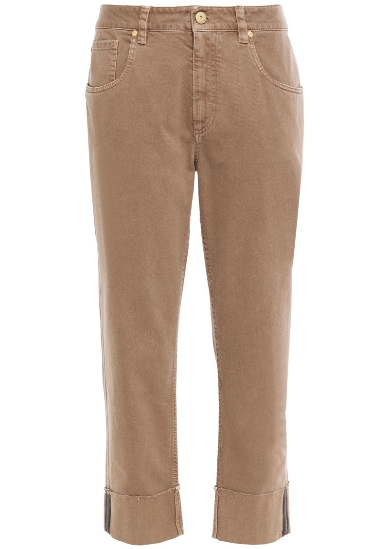 Brunello Cucinelli Woman Cropped Bead-embellished High-rise Straight-leg Jeans Sand