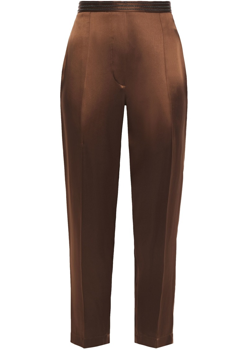 Brunello Cucinelli Woman Cropped Bead-embellished Satin Tapered Pants Chocolate