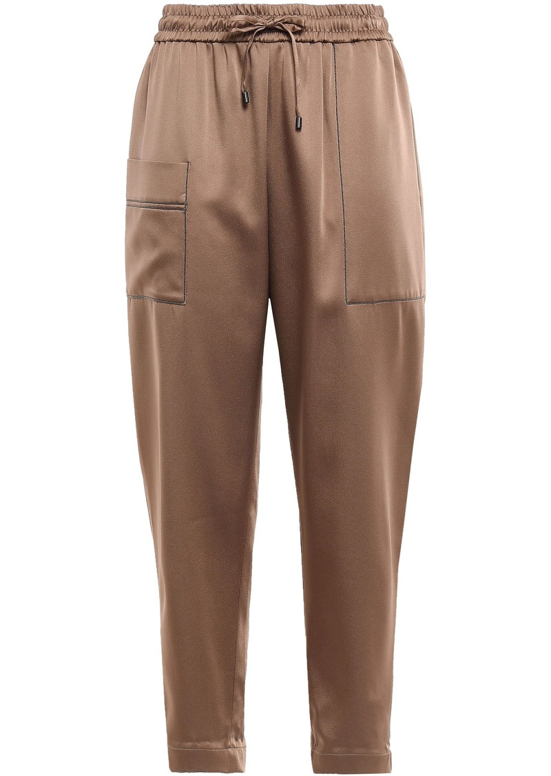 Brunello Cucinelli Woman Cropped Bead-embellished Satin Track Pants Copper