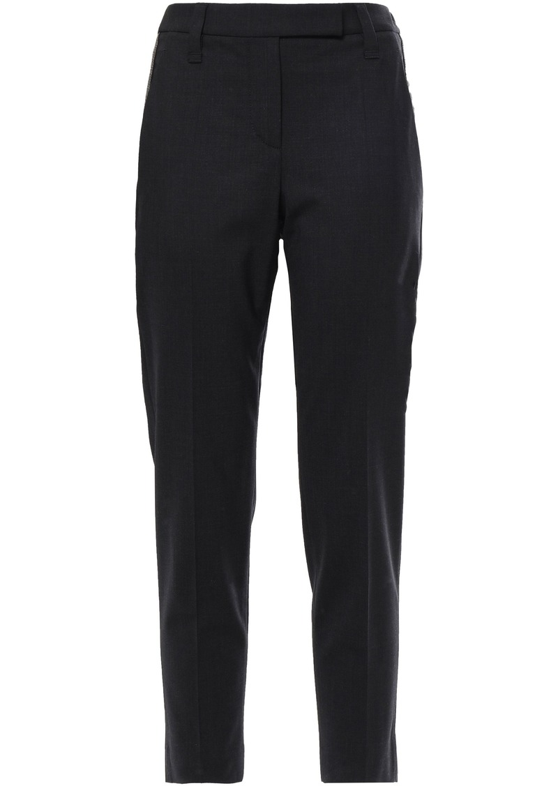 Brunello Cucinelli Woman Cropped Bead-embellished Wool-blend Slim-leg Pants Black