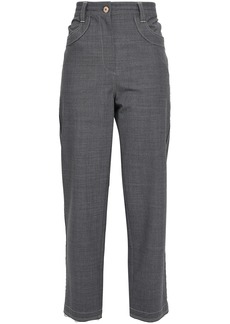 Brunello Cucinelli Woman Cropped Bead-embellished Wool-blend Straight-leg Pants Anthracite