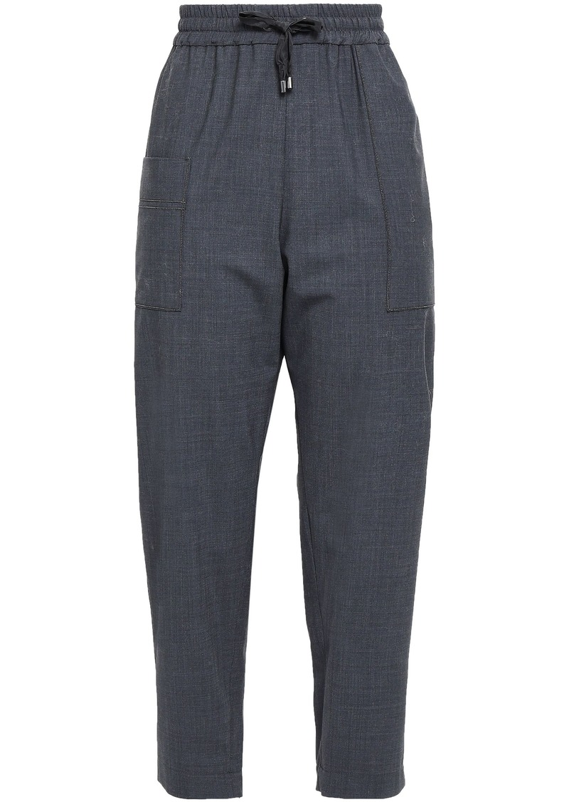 Brunello Cucinelli Woman Cropped Bead-embellished Wool-blend Track Pants Anthracite