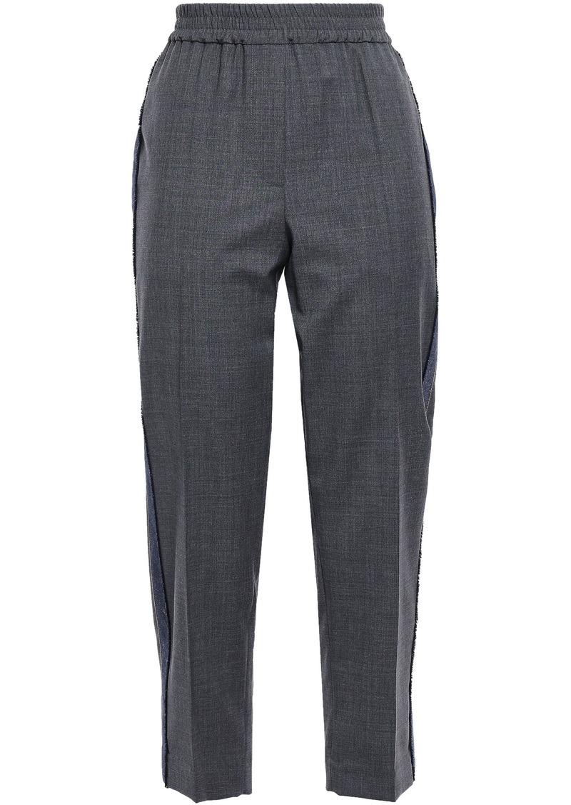 Brunello Cucinelli Woman Cropped Bead-embellished Wool Straight-leg Pants Dark Gray