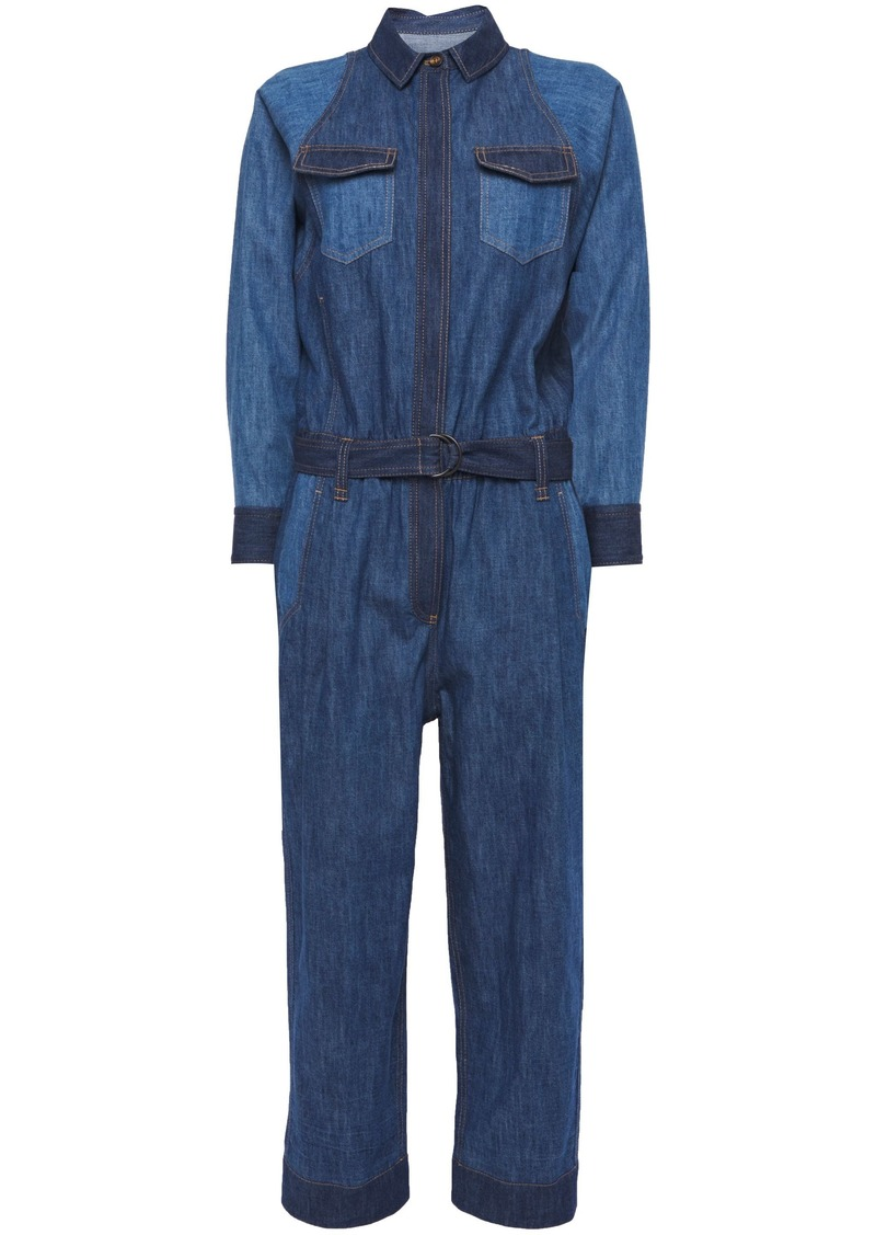 Brunello Cucinelli Woman Cropped Belted Bead-embellished Denim Jumpsuit Mid Denim