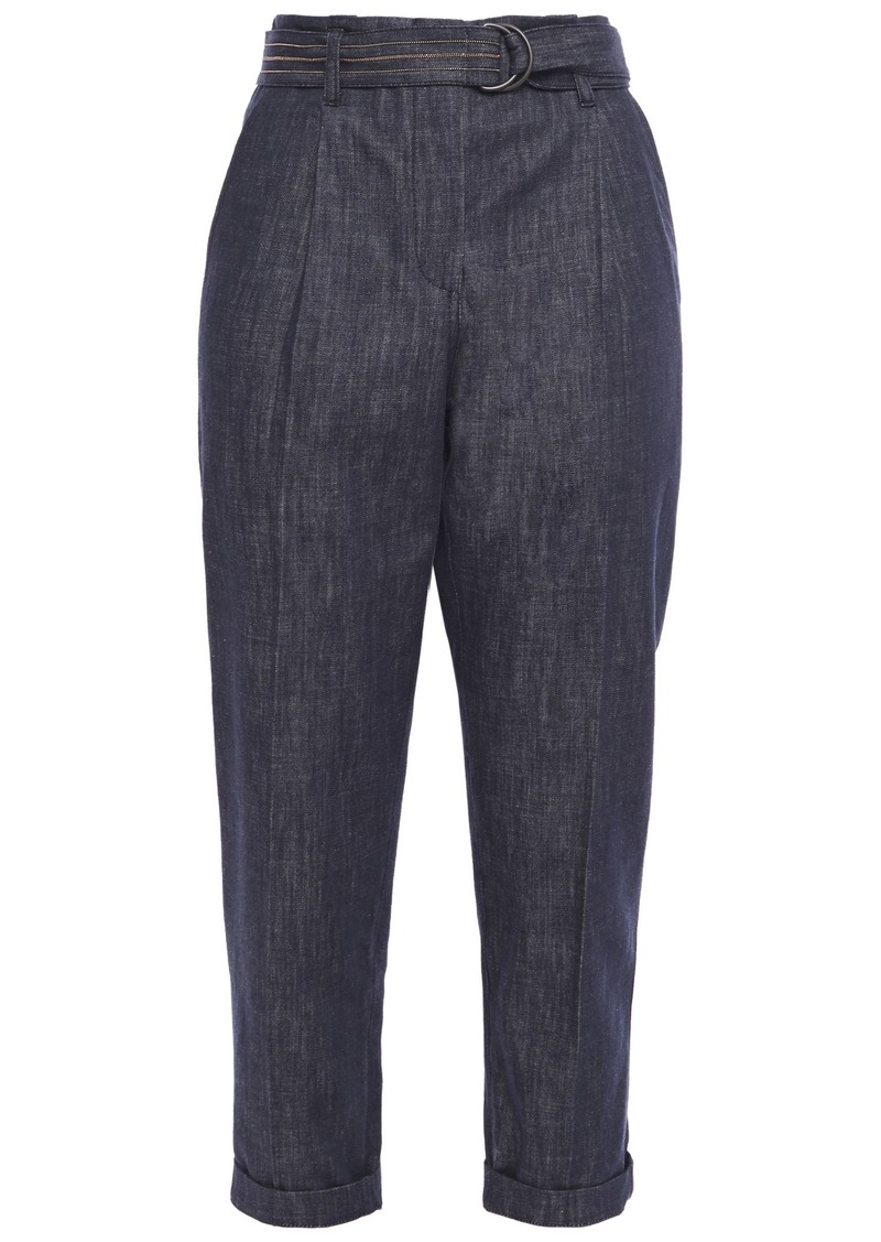 Brunello Cucinelli Woman Cropped Belted Bead-embellished High-rise Tapered Jeans Dark Denim