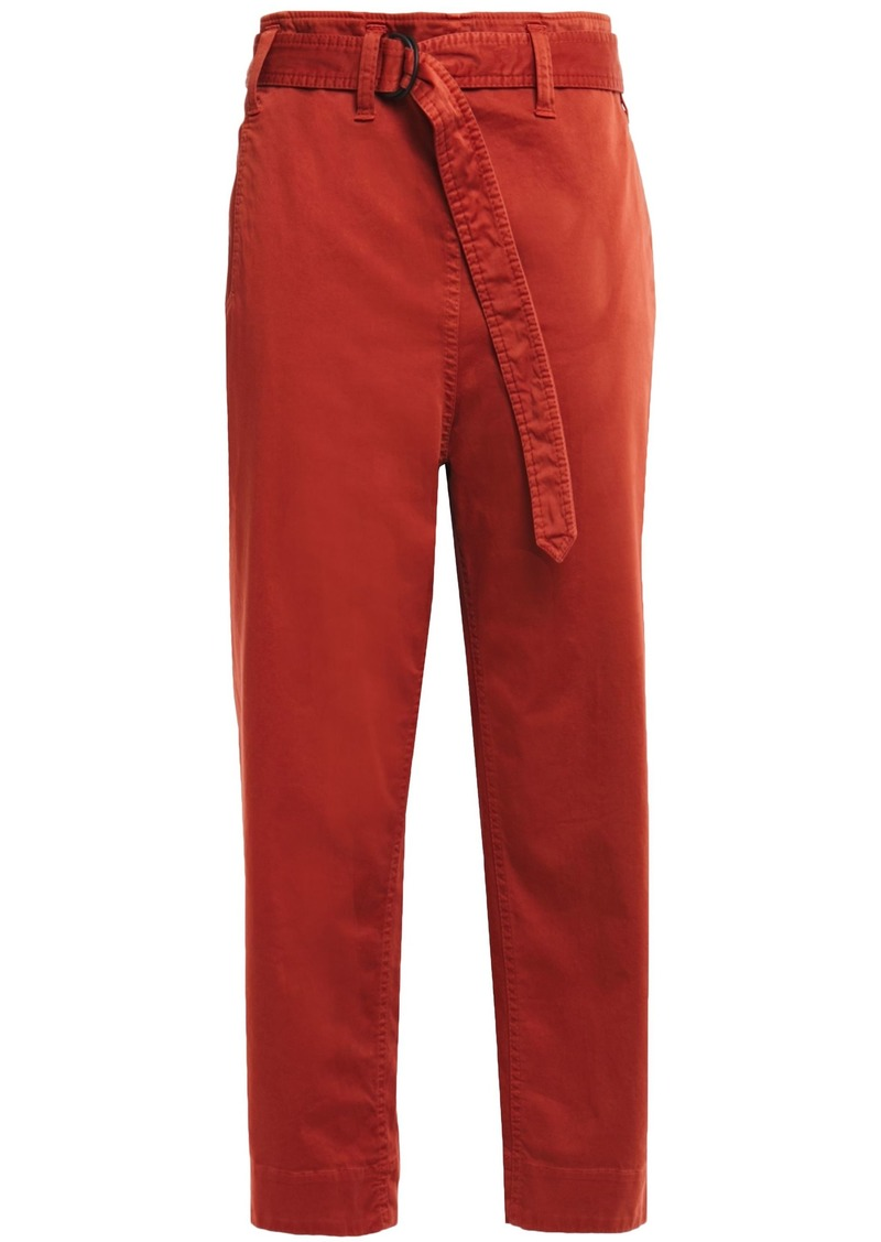 Brunello Cucinelli Woman Cropped Belted Cotton-blend Gabardine Tapered Pants Brick