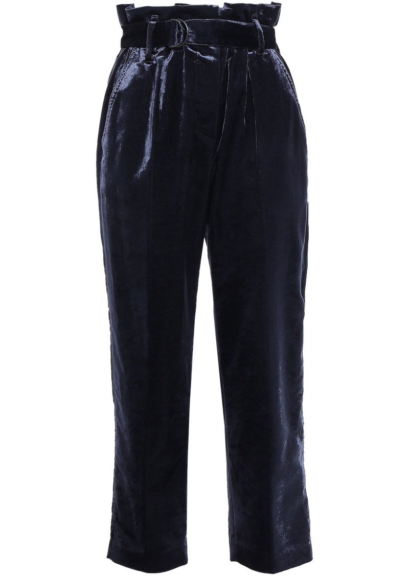 Brunello Cucinelli Woman Cropped Belted Cotton-blend Velvet Tapered Pants Anthracite