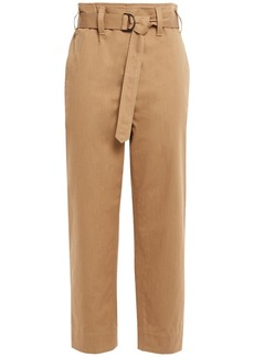 Brunello Cucinelli Woman Cropped Belted Cotton Straight-leg Pants Camel
