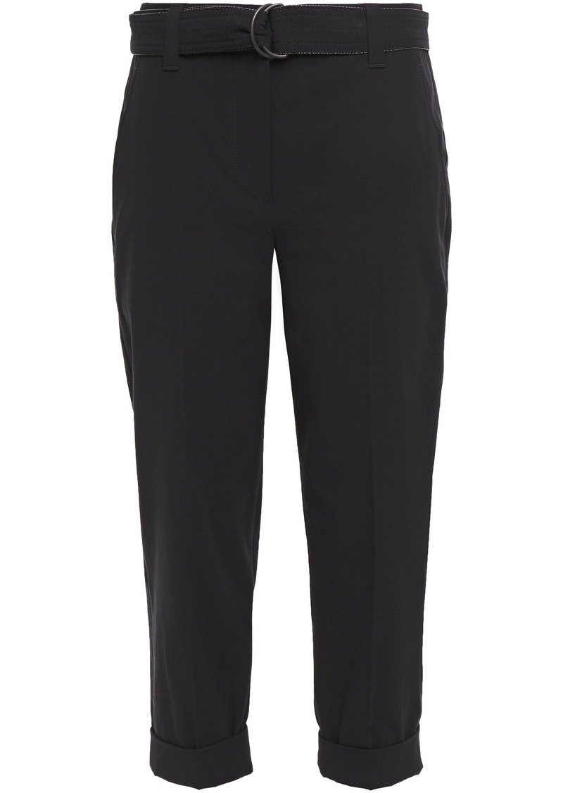 Brunello Cucinelli Woman Cropped Belted Cotton-twill Tapered Pants Black