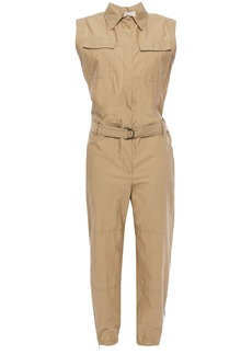Brunello Cucinelli Woman Cropped Belted Crinkled Cotton-blend Jumpsuit Sand